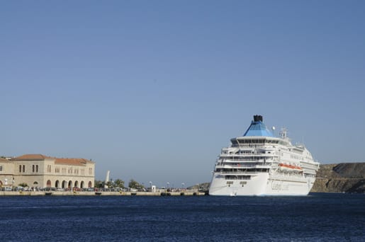 1- The Celestyal Crystal berthing in Syros