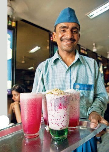 Colourful milk cold drinks served at Badshah Cold Drink House.