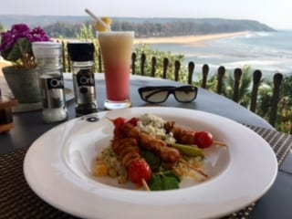 Starters and mocktails at Tavern restaurant in Fort Tiracol Heritage Hotel, on the hill top overlooking the sea shore.