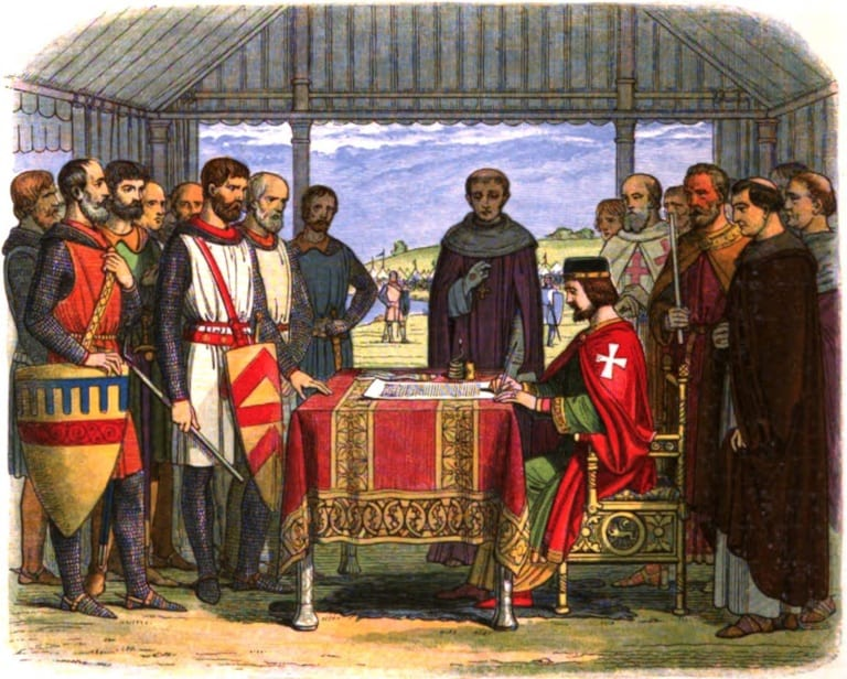 Englands-King-John-signs-the-Magna-Carta-on-the-dotted-line-at-Runnymede.