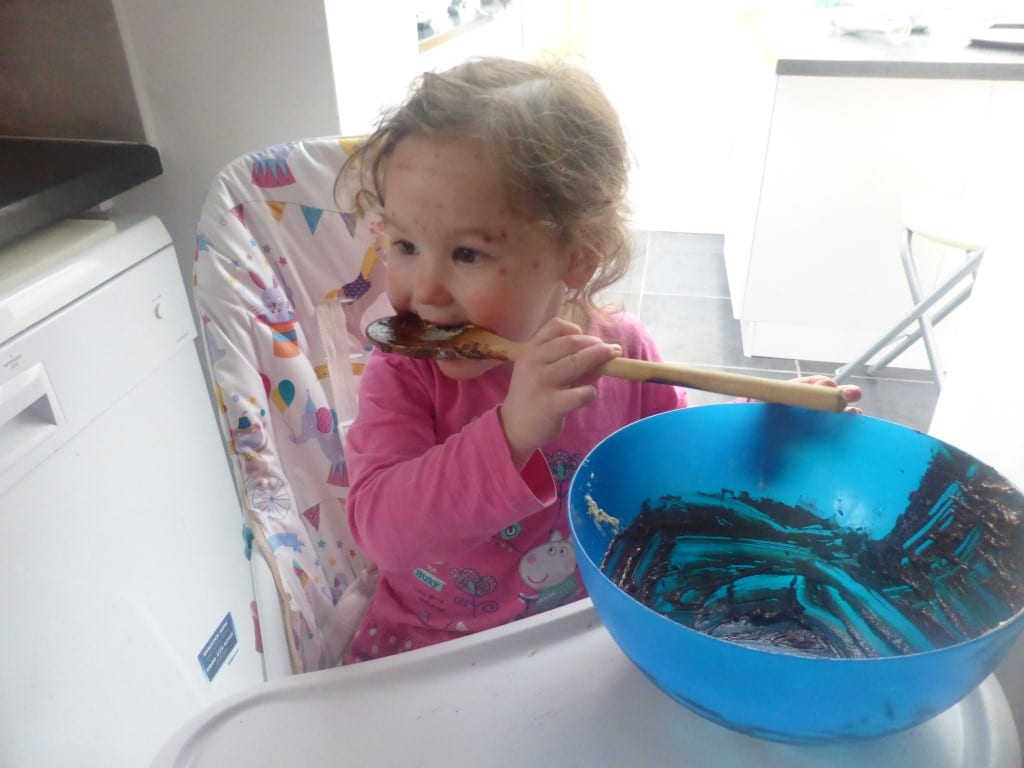 Isabella licking out the bowl. She''s just recovering from chicken pox. I said as she's a Vegan, it should be called Soya Pox!