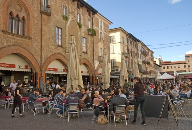 Lively bars on a piazza of Pavia