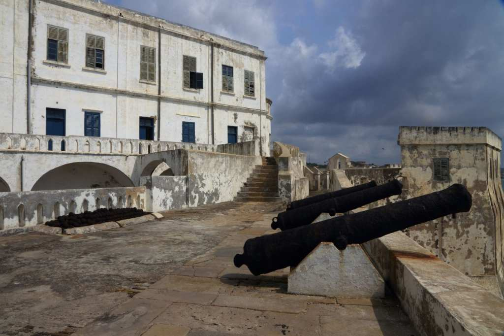 Canons pointing out to sea from a second military platform Cape Castle