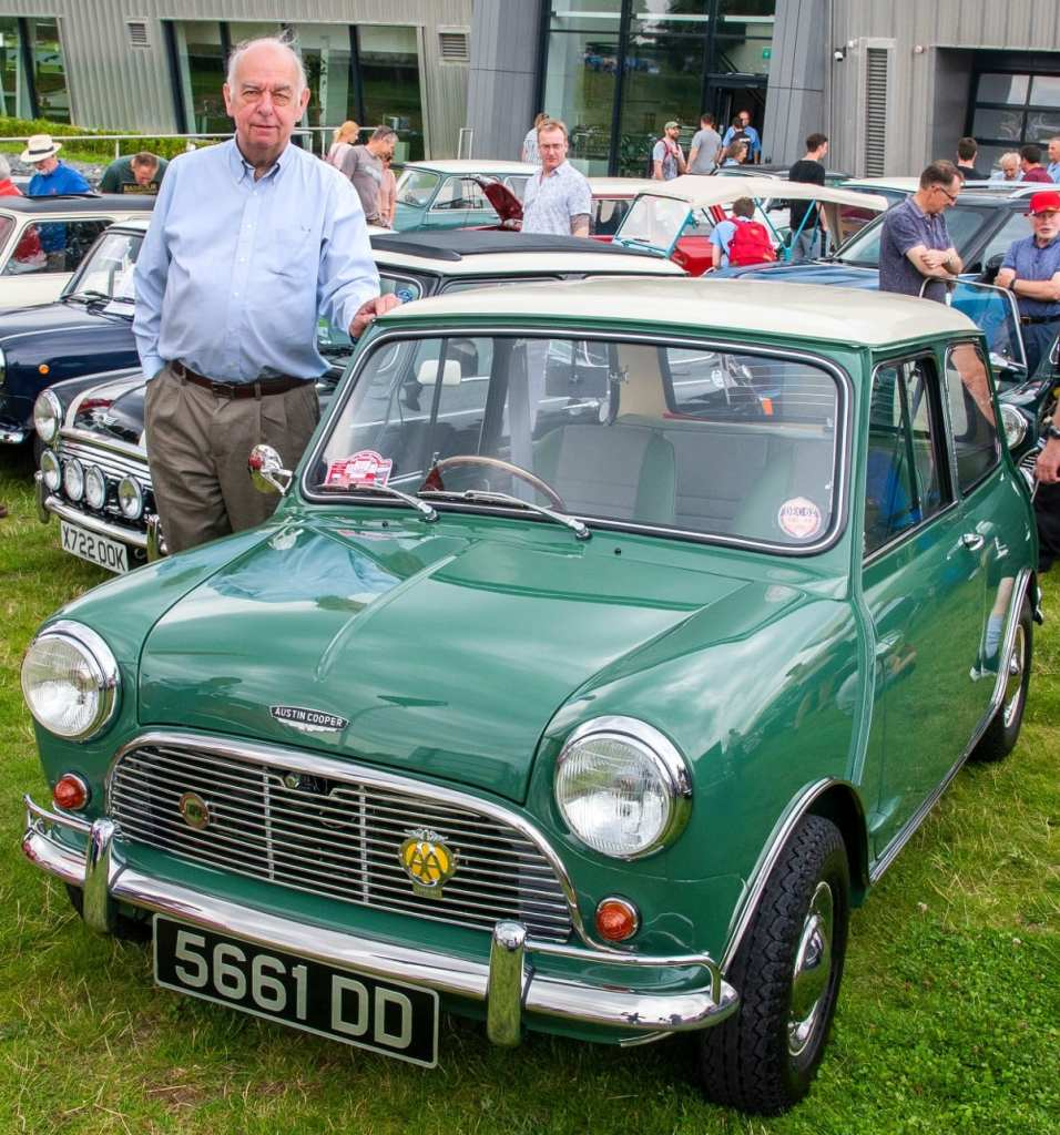 Pic Peter Gibson with his original Mini Cooper