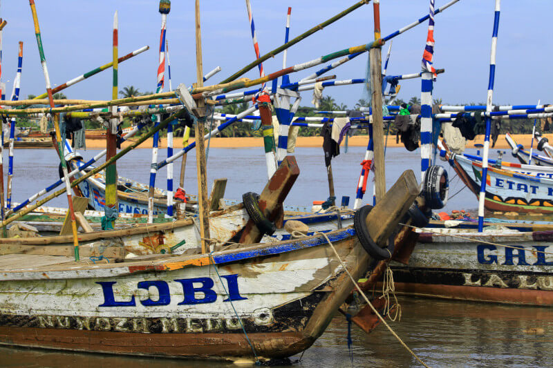 Fishing boats moored in the lagoo Aneho