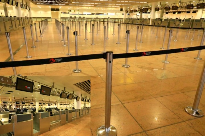 The empty check in lanes at Brussels Airport