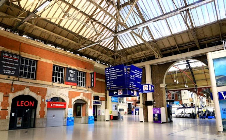 A very empty Victoria Station in London