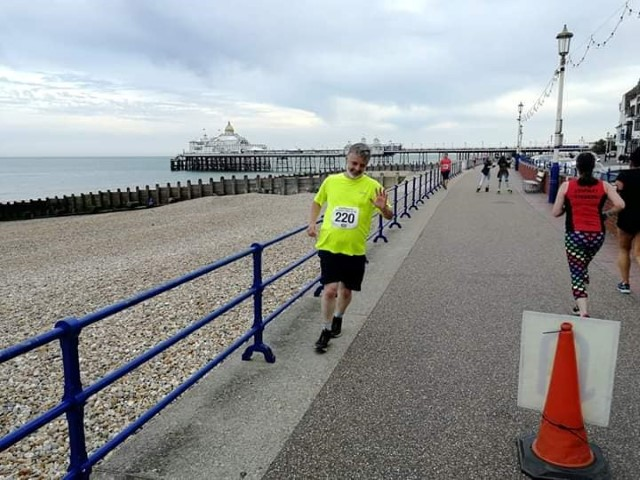 WRASs Trevor Weeks running on Eastbourne Seafront last year