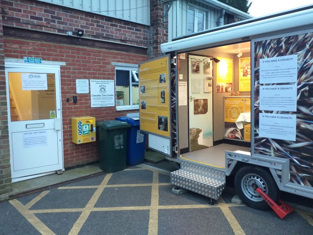 WRASs trailer acting as a drop of point outside WRASs Casualty Centre