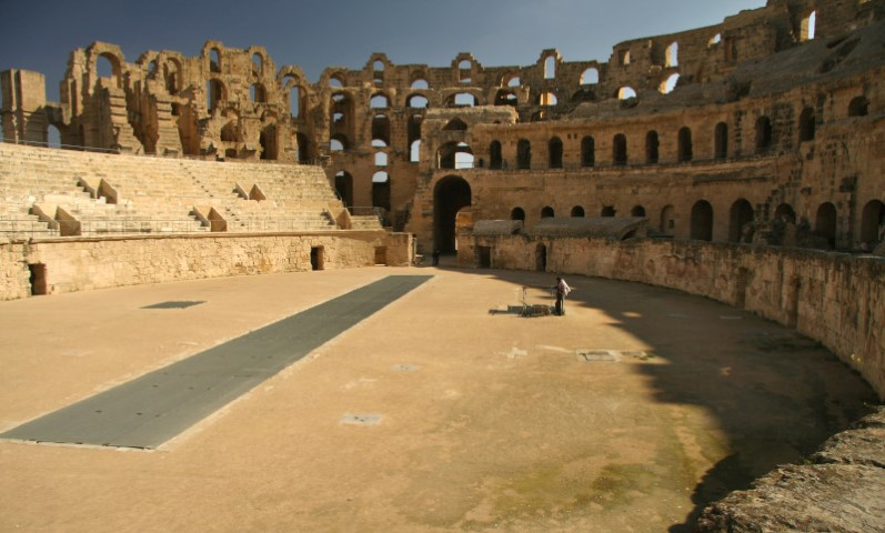 The grand well preserved Colosseum of El Jem Tunisia