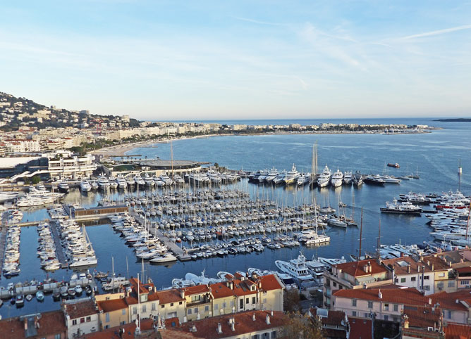 Cannes harbour and the Croisette in the distance