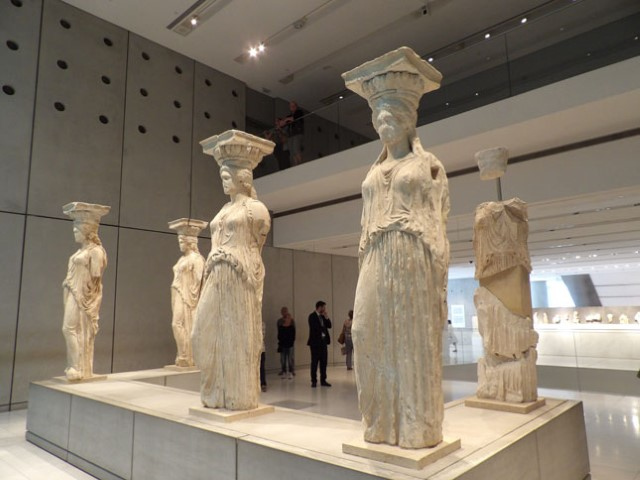 The original Caryatides now in the Acropolis Museum