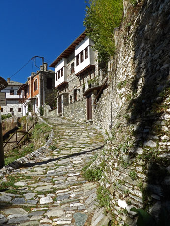 Cobblestone lane in Makrinitsa village