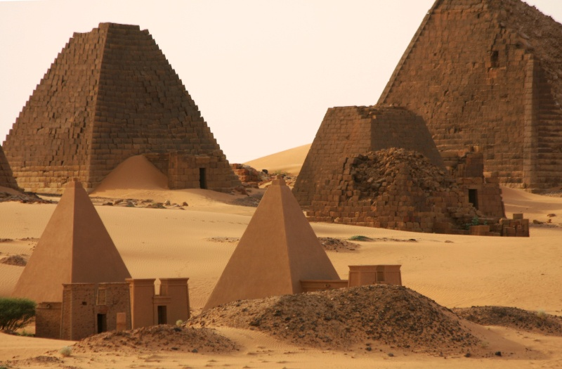Pyramids both plundered and restored