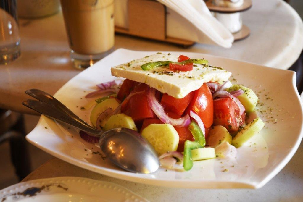 Enjoy a traditional Greek salad in a Pangrati district restaurant