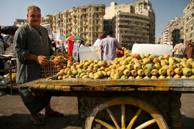 Fruit seller at Tihrir square during the governmnt protests Cairo Egypt