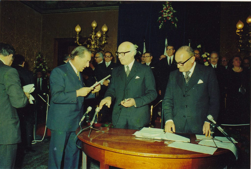 MalDia Malta was declared a Republic on th December and Sir Anthony Mamo centre sworn in as its first President