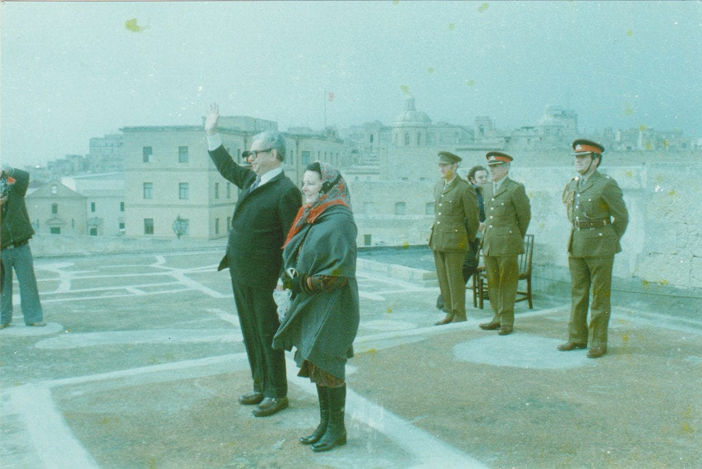 MalDia The Malta President Dr Anton Buttigieg together with his Scottish wife wave off the last Royal Naval ship to leave the Valletta Grand Harbour on Freedom Day