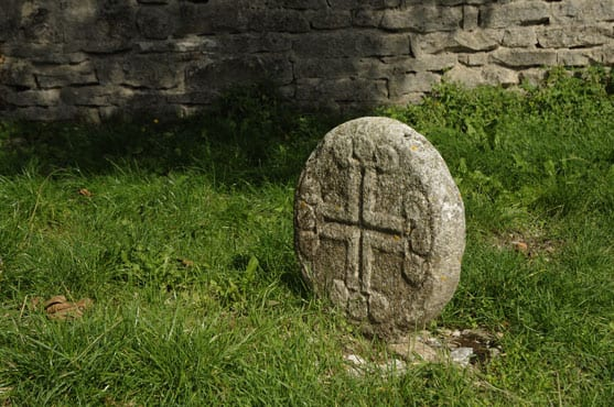 Carved tombstone of a Knight Templar in La Couvertoirade