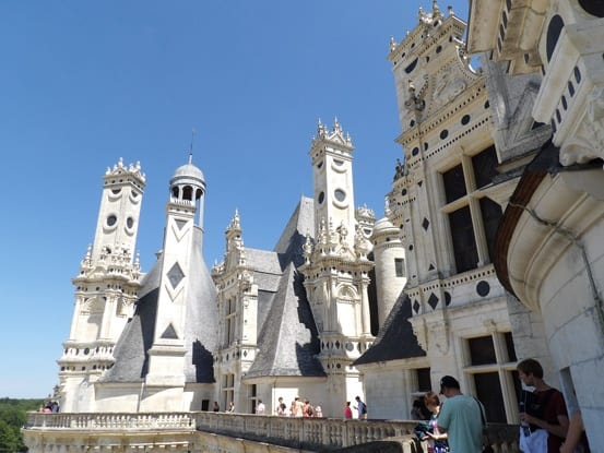 Fantasy chimneys and rooftops at Chambord