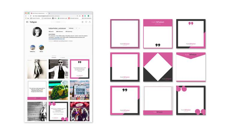 Kate Whelan Voiceover bespoke branded Instagram social media templates.