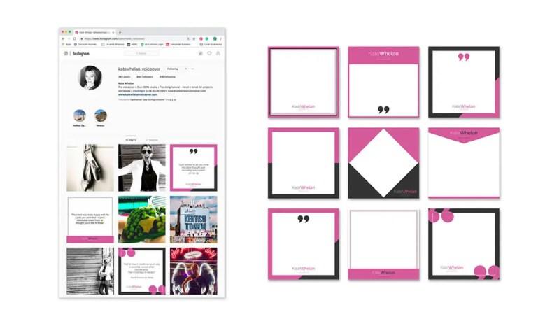 Kate Whelan Voiceover bespoke branded Instagram social media templates.