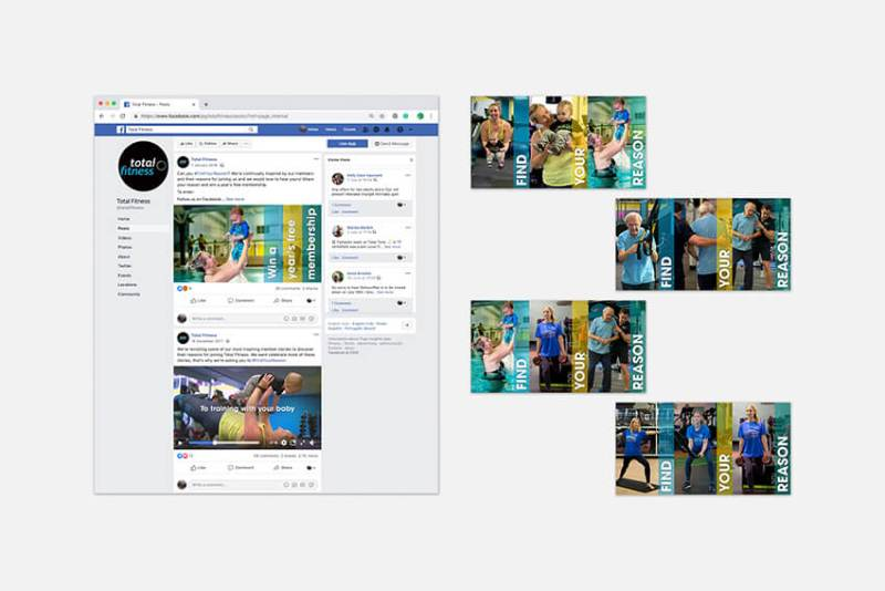 Total Fitness Find Your Reason campaign Facebook posts