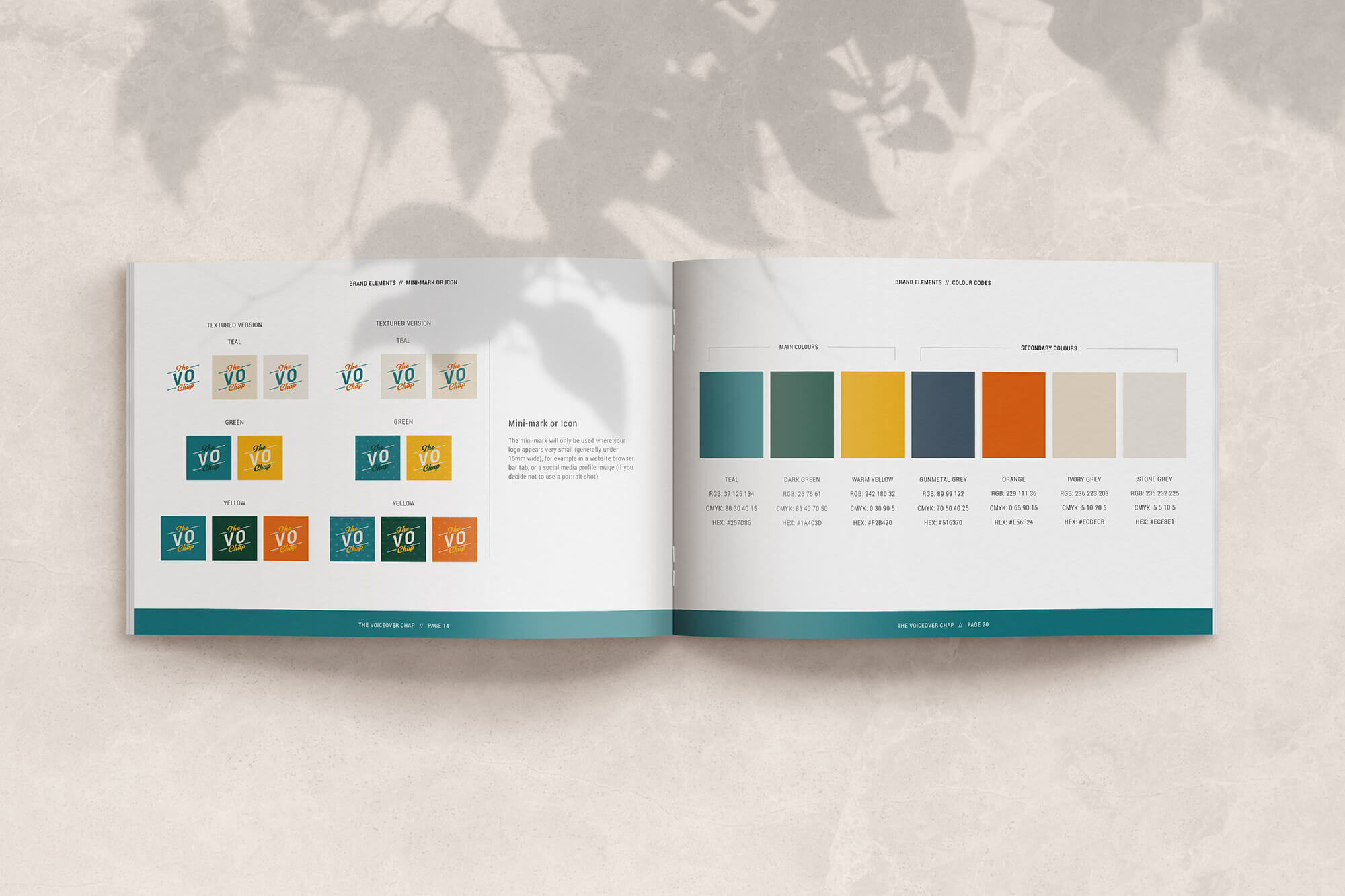 Logo and colours in brand book - branding and website design for The Voiceover Chap Liam Gerrard