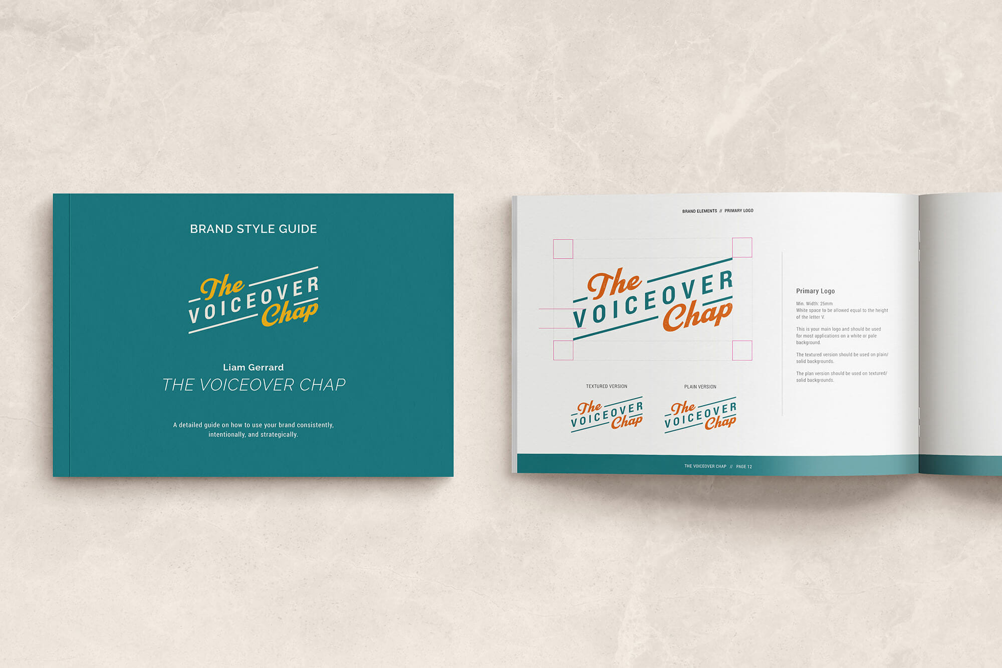 Logo in brand book - branding and website design for The Voiceover Chap Liam Gerrard