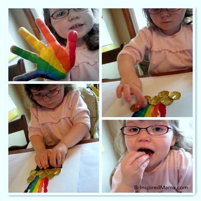 Steps to Make a St. Patrick's Day Rainbow Handprint Craft at B-InspiredMama.com
