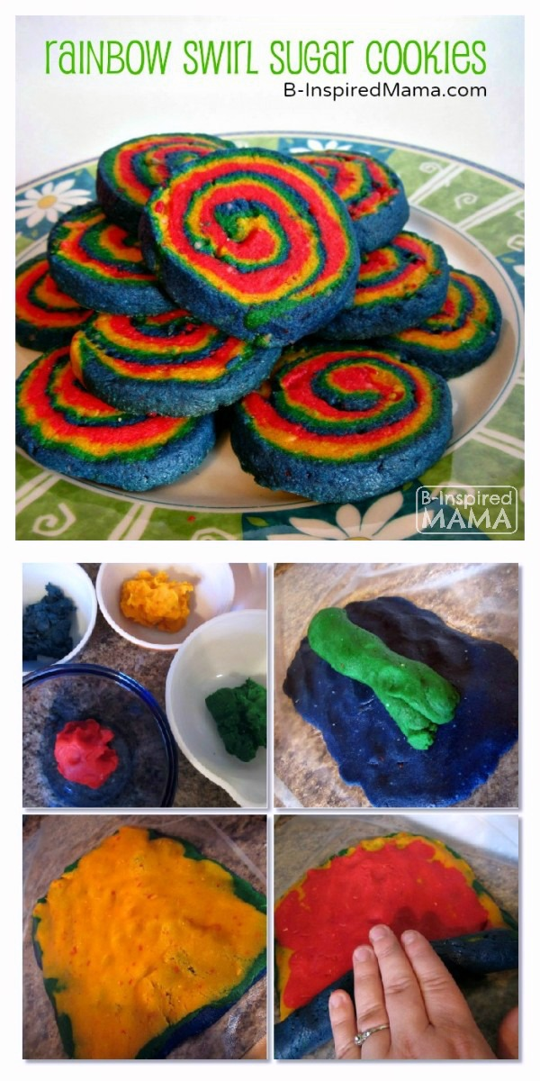 Rainbow Swirl Sugar Cookies - A Colorful Kids in the Kitchen Recipe at B-Inspired Mama