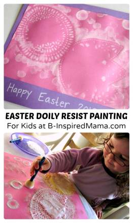 Simple Easter Doily Resist Painting for Kids at B-Inspired Mama