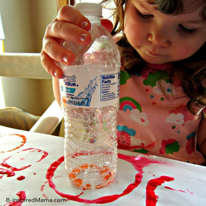 Exploring Circles with Plastic Bottle Print Painting at B-InspiredMama.com