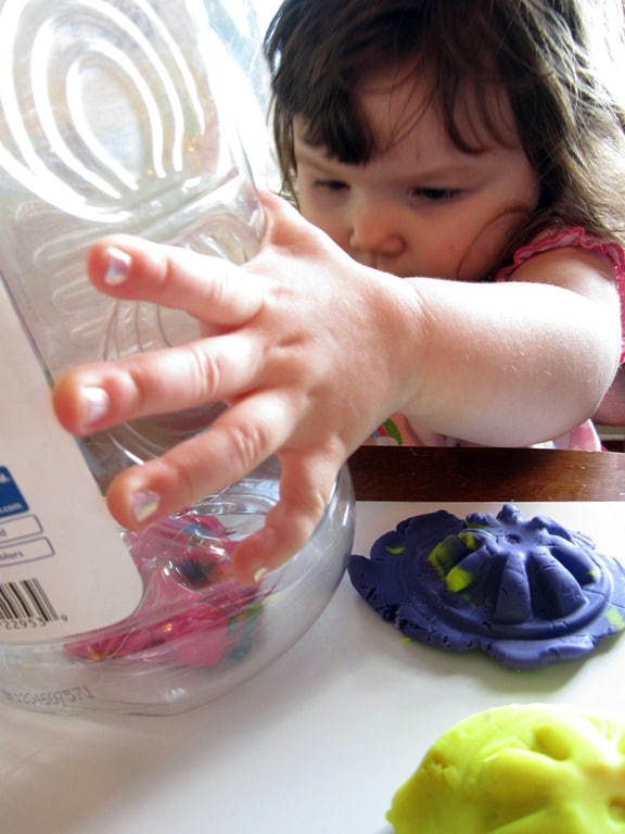 Play Dough Impressions with Plastic Bottles from B-InspiredMama.com