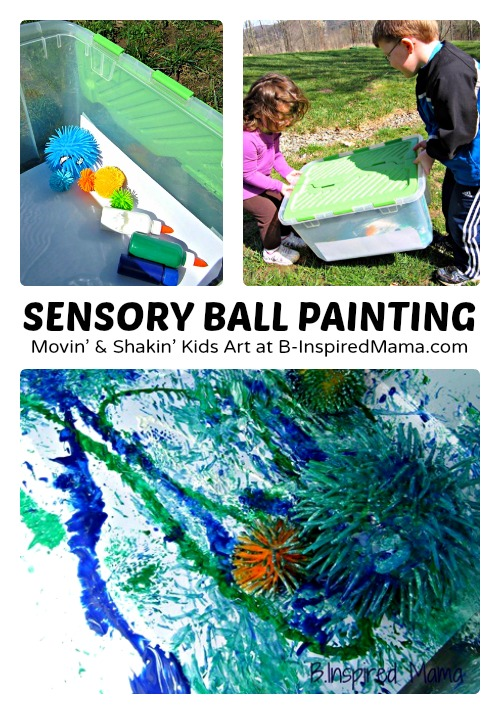 Sensory Ball Kids Painting at B-Inspired Mama