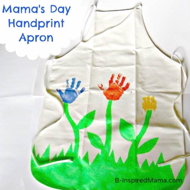 Handprint Flower Apron for Mom for Mother's Day at B-InspiredMama.com