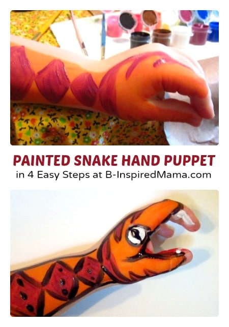 A Painted Snake Hand Puppet for Kids at B-Inspired Mama