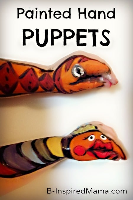 Painting Hands into Puppets at B-Inspired Mama
