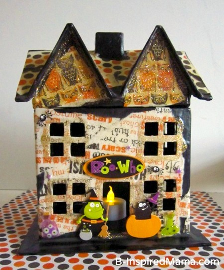 Our Mod Podge Haunted House Kids Craft for Halloween at B-Inspired Mama