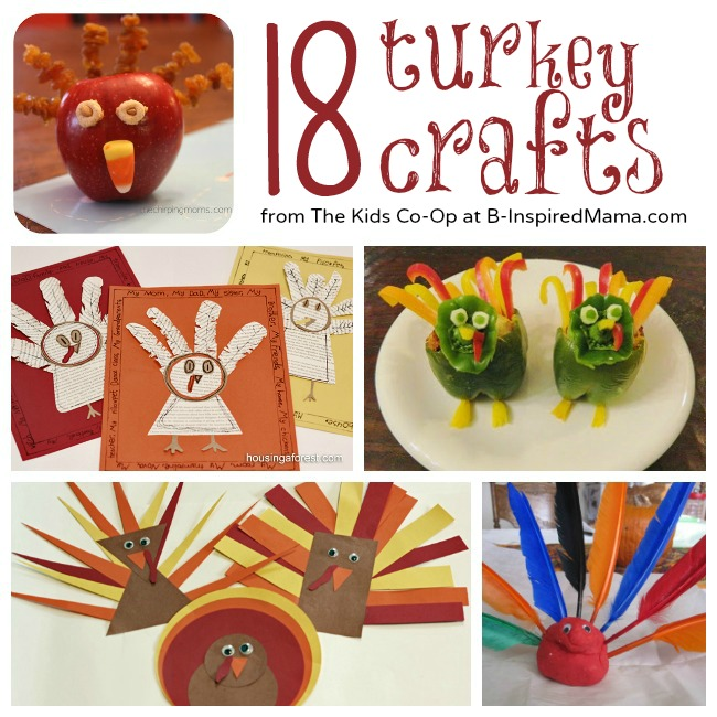 18 Turkey Crafts from the Kids Co-Op at B-InspiredMama.com