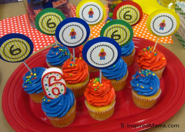 LEGO Party Cupcake Toppers with Free Printables at B-Inspired Mama