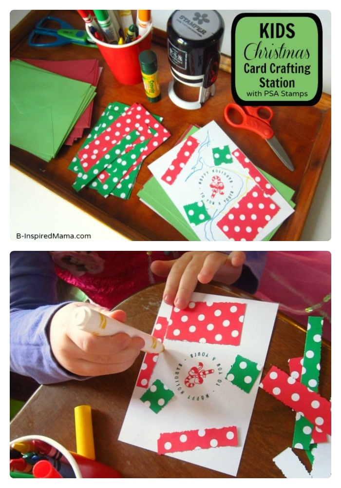 Kids Christmas Craft - Card Making Station - B-Inspired Mama