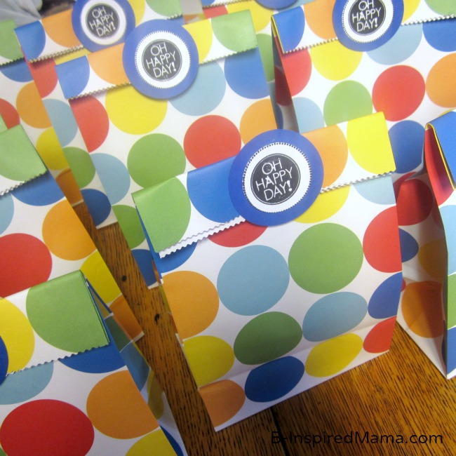 Polka Dot First Birthday Party Favor Bags at B-InspiredMama.com