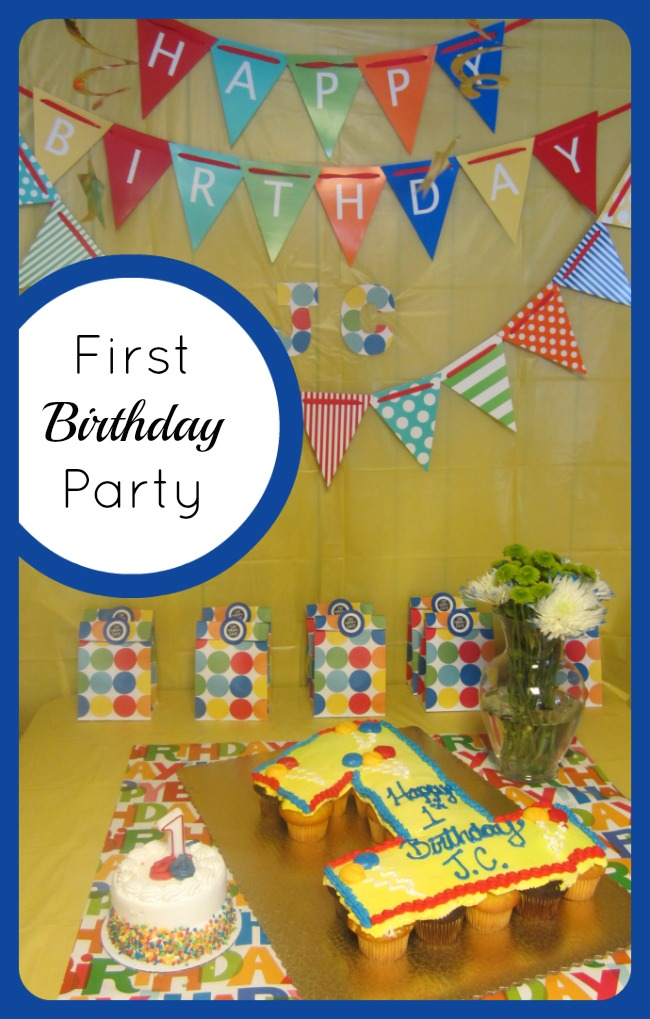 Happy First Birthday Party at B-InspiredMama.com