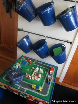 DIY Wall LEGO Storage at B-InspiredMama.com