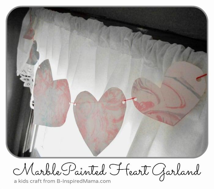Kids Marbled Heart Garland Valentine Craft
