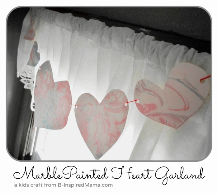 Marbled Heart Garland Valentine Craft from B-InspiredMama.com