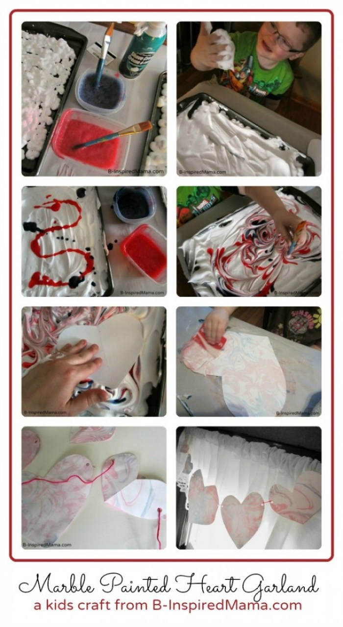 Make a Marbled Heart Garland Valentine Craft from B-InspiredMama.com