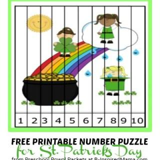 Kids Printable Number Puzzle for St. Patrick's Day