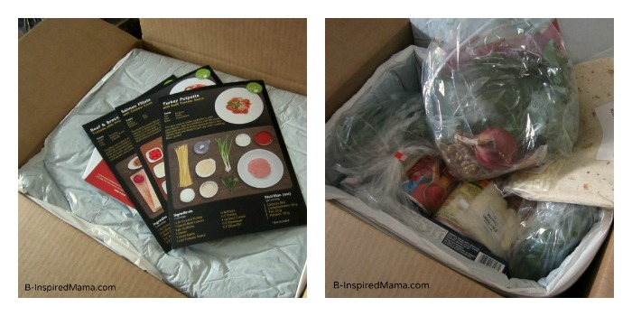 Box of Recipes and Fresh Ingredients from HelloFresh at B-InspiredMama.com
